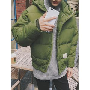 Zip Up Patch Design Hooded Puffer Jacket