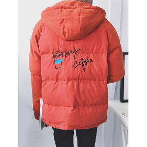 Zip Up Embroidered Hooded Puffer Jacket -