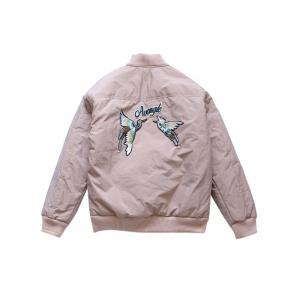 Zip Up Bird Embroidery Souvenir Jacket -