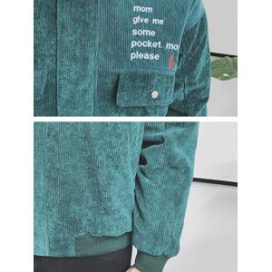 Zip Up Embroidery Corduroy Jacket - GREEN 2XL