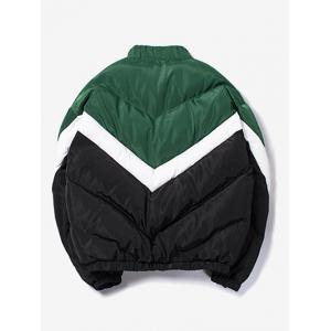 Stand Collar Zip Up Colorblocked Quilted Jacket -