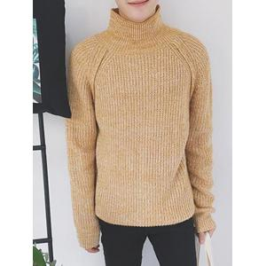 Raglan Sleeve Funnel Neck Ribbed Sweater