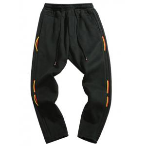 Taper Fit Drawstring Waist String Panel Sweatpants -