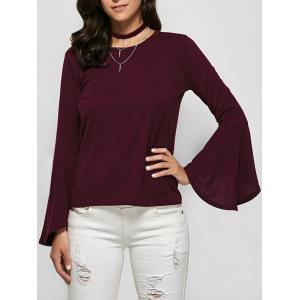 Flare Sleeve Jewel Neck Tee - Burgundy - L
