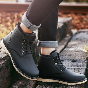 Faux Leather Cotton Liner Ankle Boots -