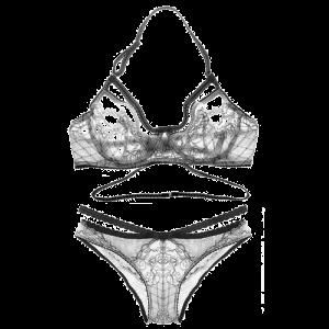 High Cut See-Through Lace Bra Set No Padding - Off-white - 75c