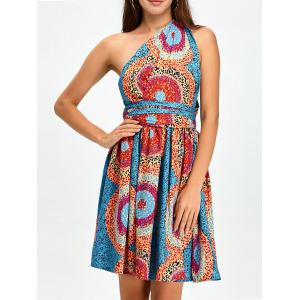 Open Back Knee Length Convertible Cocktail Dress - Multi - M