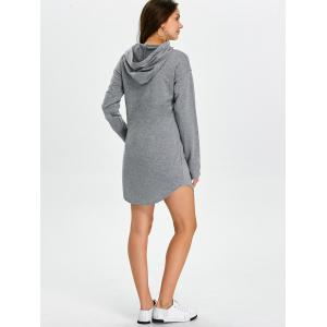 Hooded Mini Sweatshirt Dress - GRAY XL