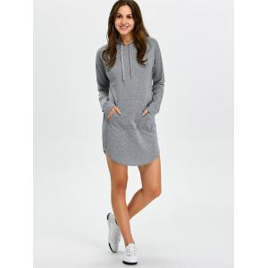 Hooded Long Sleeve Sweatshirt Mini Dress with Pocket - GRAY S