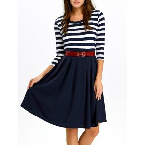 A Line Stripe Casual Dress Fall - Purplish Blue - M