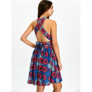 Backless Convertible Cocktail Skater Dress - MULTI XL