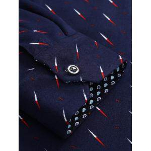 Compass Needle Print Flocking Button Down Shirt -