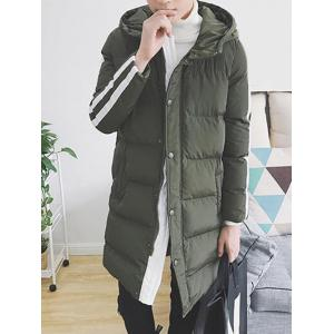 Striped Sleeve Zip Up Hooded Padded Coat -