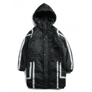 Striped Drawstring Pocket Hooded Padded Coat -