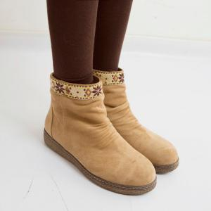Ethnic Style Embroidered Insert Snow Boots - LIGHT BROWN 39