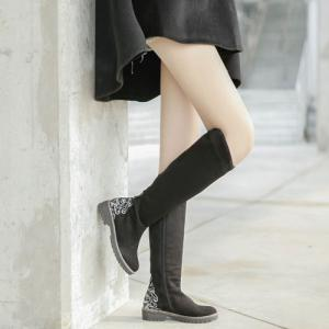 Suede Embroidered Knee High Boots -