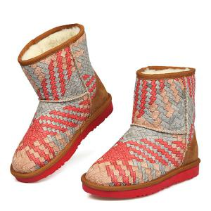 PU Leather Colored Woven Snow Boots -