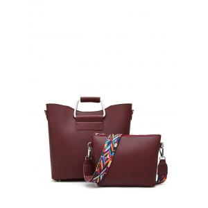 Metal Handle Colored Shoulder Strap Tote