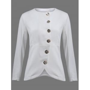 Asymmetric Button Up Blazer - White - 2xl