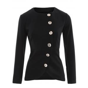 Asymmetric Button Up Blazer - Black - 2xl