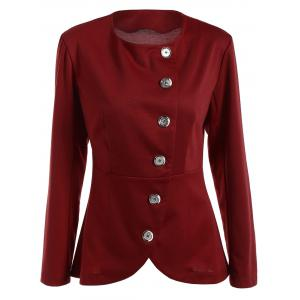 Asymmetric Button Up Blazer - Wine Red - 2xl