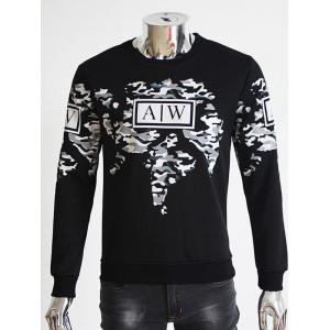 Crew Neck Flocking Irregular Camouflage Graphic Print Sweatshirt