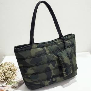 Magnetic Closure Camouflage Pattern Stitching Shoulder Bag -