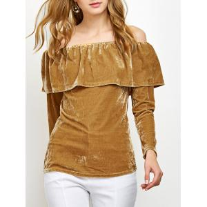 Off Shoulder Ruffles Velvet T-Shirt - Ginger - M