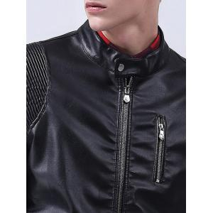 Pintuck Panel Zippered Faux Leather Jacket -