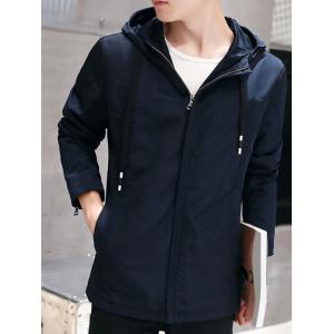 Zip Cuff Drawstring Hooded Plain Jacket