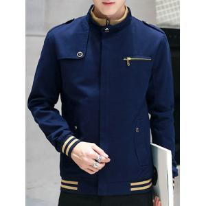 Stripe Trim Epaulet Design Pocket Zip Up Jacket