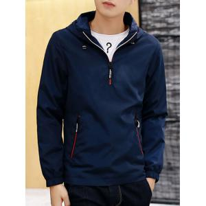 Contrast Zip Hooded Pullover Jacket