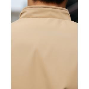 Stand Collar Zip Pocket Two Tone Jacket - KHAKI 4XL