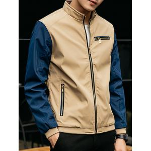Stand Collar Zip Pocket Two Tone Jacket