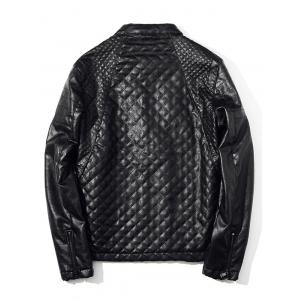 Zippered Stand Collar Quilted PU Leather Jacket -