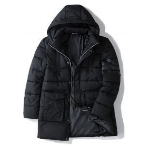 Pocket Zippered Snap Front Hooded Padded Coat -