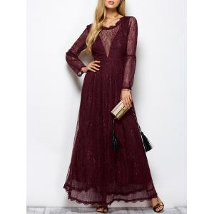 Lace Long Sleeve Mesh Maxi Evening Dress - Wine Red - S