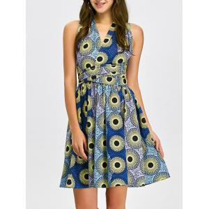 Open Back Pleated Cocktail Dress - Multi - S