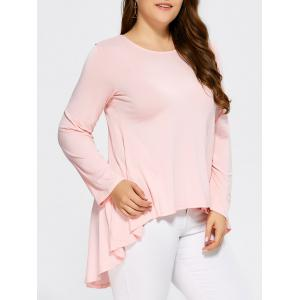 High Low Ruffled Plus Size T-Shirt - Shallow Pink - Xl