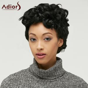 Adiors Short Fluffy Curly Side Parting Synthetic Wig - BLACK