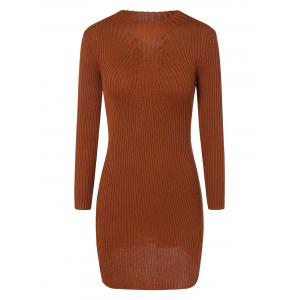 Ribbed Bodycon Mini Jumper Dress - Light Brown - One Size