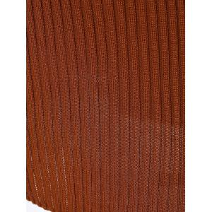 Ribbed Bodycon Mini Jumper Dress - LIGHT BROWN ONE SIZE