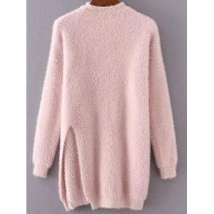 Long Mock Neck Slit Fuzzy Pullover Sweater - Pink - One Size