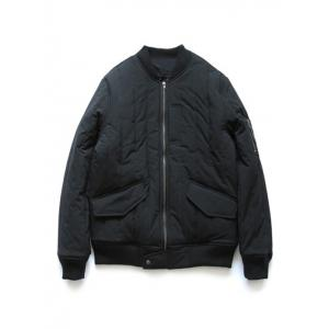 Stand Collar Zip Up Quilted Bomber Jacket - Black - Xl