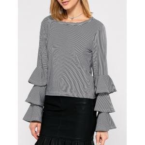 Tiered Ruffle Striped Blouse -