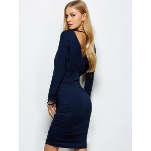 Ruched Open Back Bodycon Dress - PURPLISH BLUE S