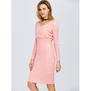 Surplice Ribbed Knit Fitted Jumper Dress -