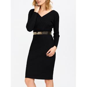 Surplice Ribbed Knit Fitted Jumper Dress - Black - One Size