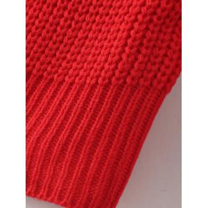V Neck Casual Loose Sweater - RED ONE SIZE