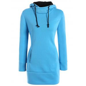 High Neck Hoodie - Blue - S